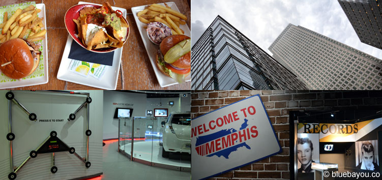 London: Restaurant, skyscrapers, Nissan Innovation Station, Elvis at the o2.