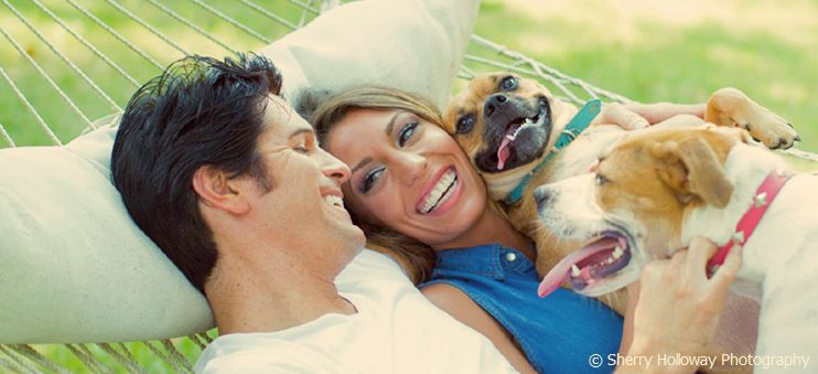 Dean Z with his wife Stephanie, and his dogs Cookie and Memphis.