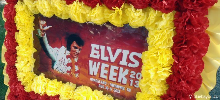 A floral wreath from Japan at the Meditation Garden during Elvis Week 2013.