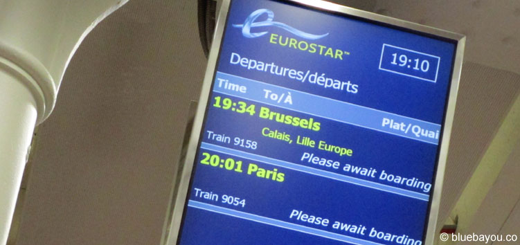 Boarding panel for the Eurostar from London to Calais-Frethun.