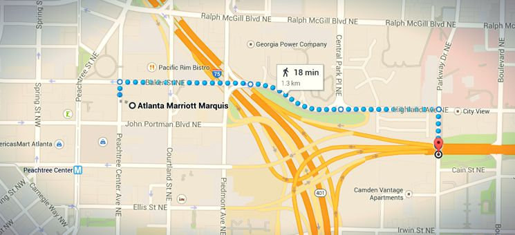 The walking route from the Atlanta Marriott Marquis to the The Walking Dead filming location of season 1.