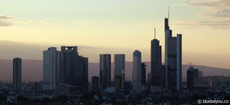 Frankfurt: skyline view from the Leonardo Royal Hotel.