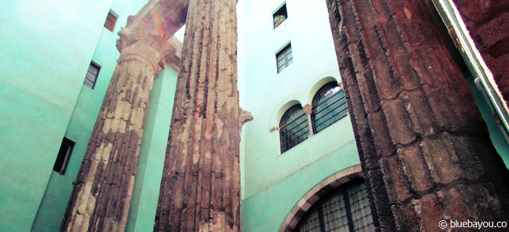 Over 2,000 years-old columns which can be seen on the Travel Bars Free Walking Tour in Barcelona.