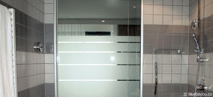 A glass bathroom at the Radisson Blu Hotel, Zurich.