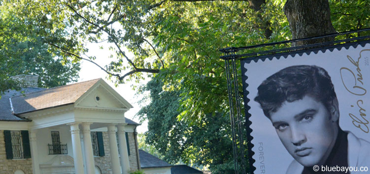 Elvis Presley on a Forever Stamp next to his beloved Graceland mansion.