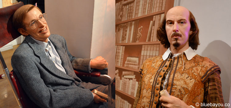 Stephen Hawking and William Shakespeare at Madame Tussauds London.