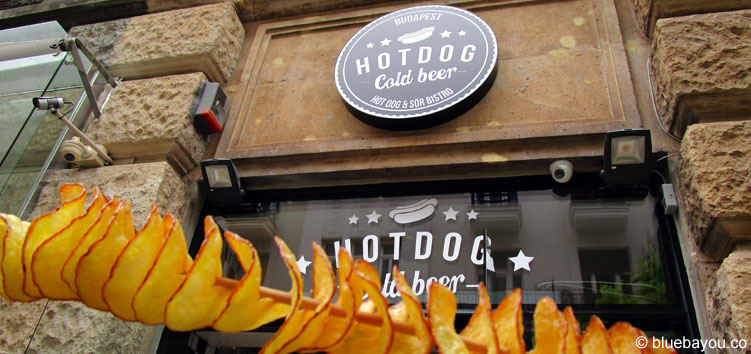 "Chips on a stick at ""Hot Dog Cold Beer"" in Budapest."