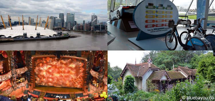 London: Emirates Cable Car, The Crystal, Disney's Lion King, and a cute cottage.