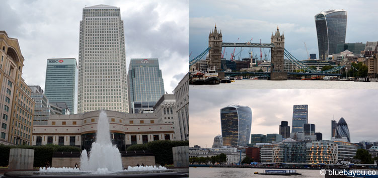 Skylines of London: Canary Wharf and City of London.