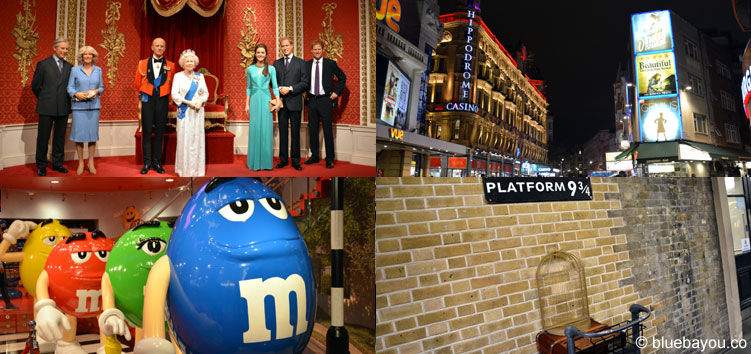 London: Madame Tussauds, London at night, the M&M's World, and Harry Potter's Platform 9 3/4.