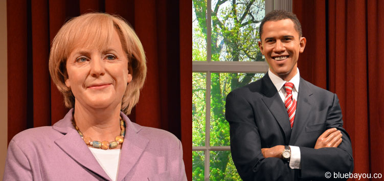 Angela Merkel and Barack Obama at Madame Tussauds London.