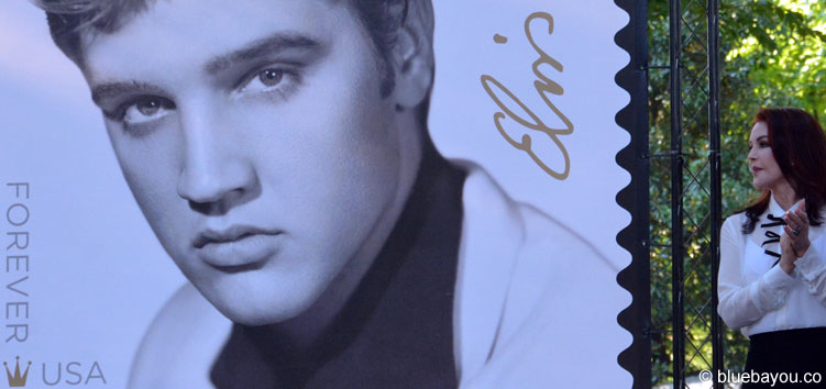 Priscilla Presley looking at the man she once married: Elvis Presley.