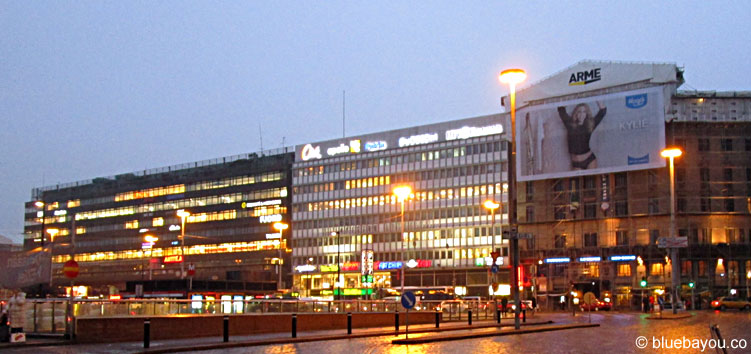 View from the station square in Helsinki, Finland.