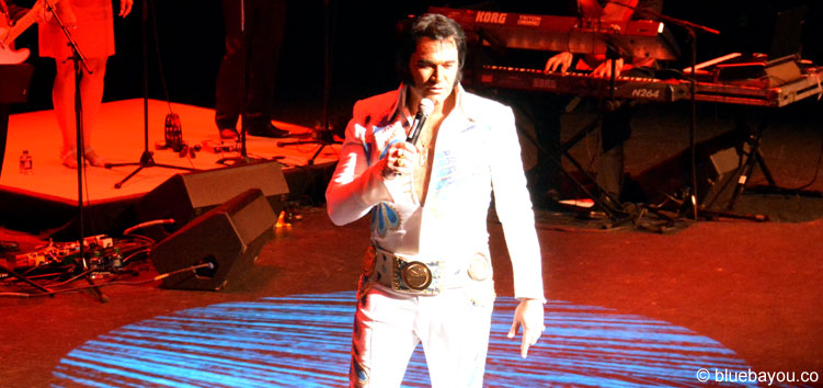 Tim Hendry was the first contestant to enter the stage at the Ultimate Elvis Tribute Artist Contest.