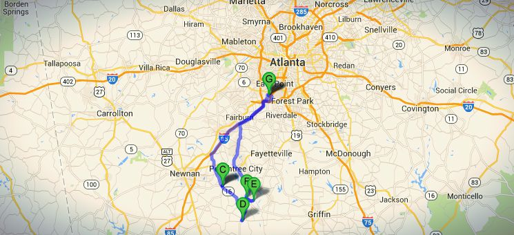 The Walking Dead route for a self guided filming locations tour south of Atlanta.