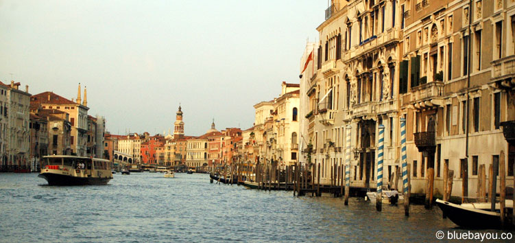 View from the boat to a typical waterway in Venice.
