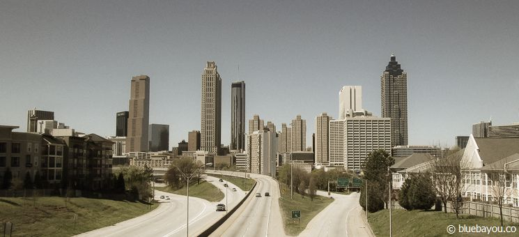 The view from Jackson Street Bridge in Atlanta: the cover for the first season of The Walking Dead.