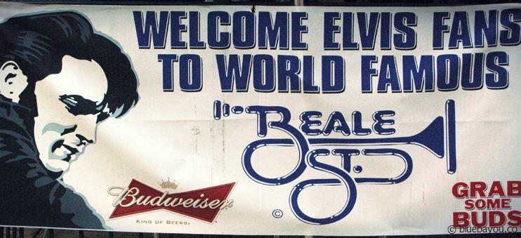 """Welcome Elvis Fans""-Sign at Beale Street during Elvis Week 2013."