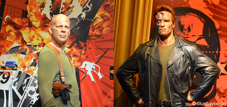 Arnold Schwarzenegger and Bruce Willis at Madame Tussauds London.